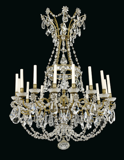 A PAIR OF FRENCH ORMOLU AND MOULDED-GLASS SIXTEEN-LIGHT CHANDELIERS, IN THE MANNER OF MAISON BAGUES, CIRCA 1900