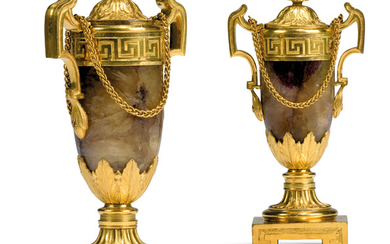 A PAIR OF GEORGE III ORMOLU-MOUNTED BLUE JOHN CANDLE VASES