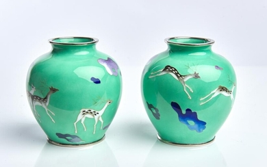 A PAIR OF JAPANESE ART DECO CLOISONNE VASES TAISHO/SHOWA PERIOD
