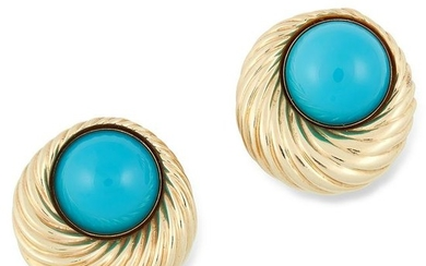 A PAIR OF VINTAGE TURQUOISE EARRINGS set with cabochon