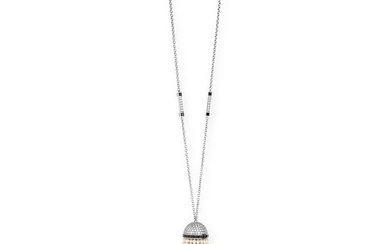 A PEARL, DIAMOND AND ONYX TASSEL PENDANT NECKLACE in
