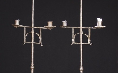 A Pair of 18th Century Style Wrought Iron twin-socket Table Candlestands. The rolled sheet metal soc