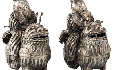 A Pair of Chinese Export Silver Figures of Zhongli Quan (circa 1900)