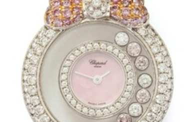 A RARE LADY'S 18CT PINK AND WHITE GOLD AND PINK AND WHITE DIAMOND SET 'HAPPY DIAMONDS - LA VIE EN ROSE' WRISTWATCH, CIRCA 1995 One s
