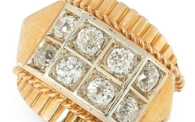 A RETRO DIAMOND BOMBE DRESS RING, 1940s in 18ct yellow