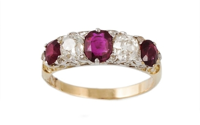 A RUBY AND DIAMOND FIVE STONE RING, oval rubies, old cut dia...