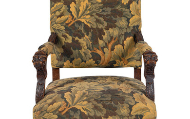 A Renaissance Style Tapestry-Upholstered Carved Walnut Great Chair