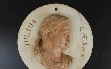 A Roman white marble and rosso di Verona medallion