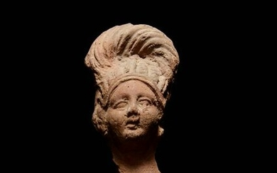 A Romano-Egyptian Terra Cotta Bust Height 3 1/2 inches.