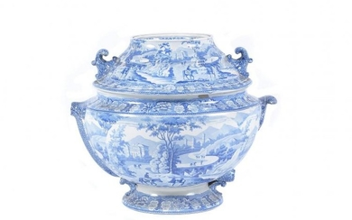 A Staffordshire pearlware cistern and cover printed with the 'Italian Scenery' pattern