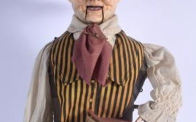 A VICTORIAN AUTOMATON FIGURE OF A SEATED MALE modelled