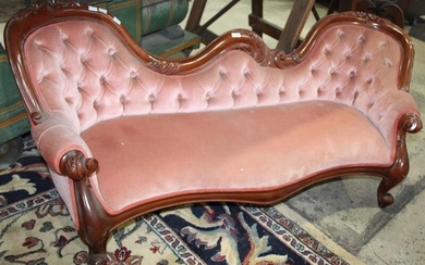 A VICTORIAN STYLE DOLLS BUTTON BACK SETTEE