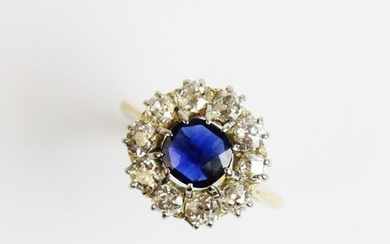 A Victorian sapphire and diamond cluster ring, comprising a ...