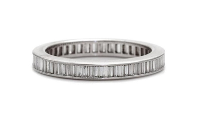 A White Metal and Diamond Eternity Band,
