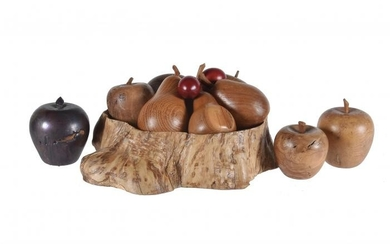 A collection of nine turned wood models of fruit