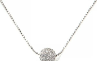 A diamond & 18k white gold ball pendant necklace