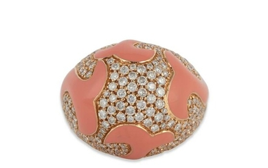 A diamond, enamel and 18K rose gold ring