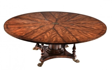 A flame mahogany extending dining table in William IV style