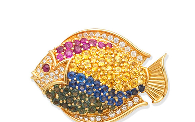 A gem-set fish brooch/pendant