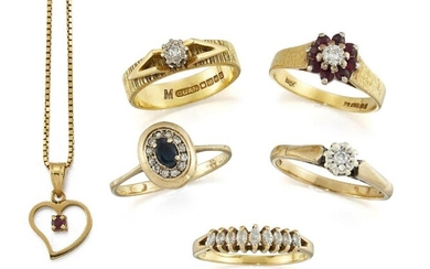A group of five diamond and gem-set...