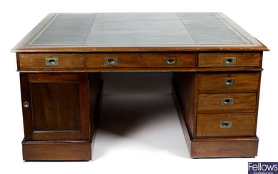 A large early twentieth century mahogany twin pedestal partners desk.