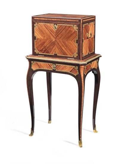 A late Louis XV ormolu mounted tulipwood, amaranth and stained sycamore coffre a bijoux by Pierre Roussel (1723-1782)