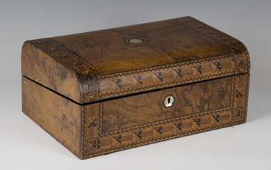 A late Victorian burr walnut and geometric inlaid writing slope, width 35.5cm.