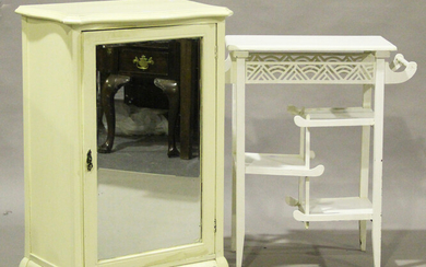 A late Victorian white painted asymmetrical occasional table, in the manner of E.W. Godwin, height 7