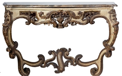 A marble topped polychrome-decorated and gilded wooden console...