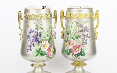 A pair of 19th Century Continental porcelain vases, H. 19cm. Condition: no visible damage or repair but, rubbing to gilding.