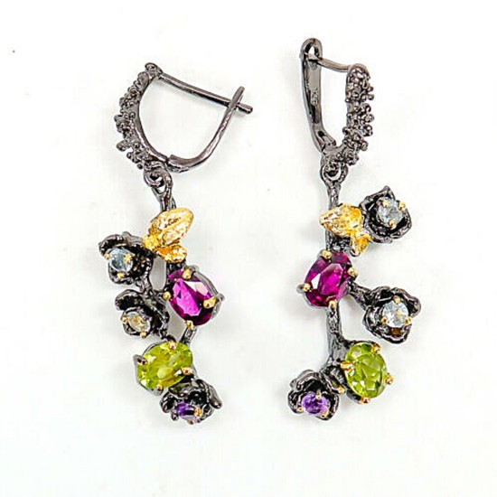 A pair of ear pendants each set with numerous topazes, amethysts, peridots and rhodolite garnets, mounted in blac rhodium and gold plated sterling silver.