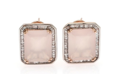 A pair of quartz and diamond ear studs each set with a princess-cut rose quartz encircled by numerous baguette-cut diamonds, mounted in 14k rose gold and silver