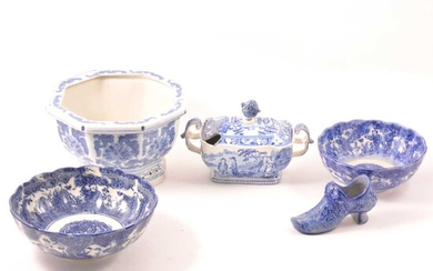 A quantity of blue and white transfer ware