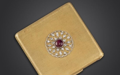 A ruby and diamond-set compact by Buccellati, the square case of brushed gold finish with central circular motif set with a cabochon ruby within a single-cut diamond surround, opening to reveal a powder compartment and mirror each within a floral...