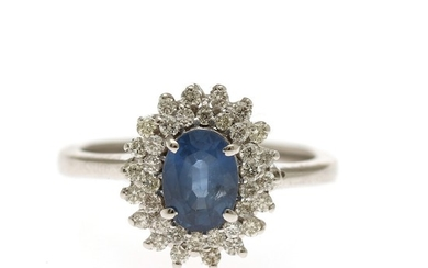A sapphire and diamond ring set with an oval-cut sapphire weighing app. 1.01 ct. encircled by numerous brilliant-cut diamonds, mounted in 14k white gold.Size 52