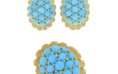 A set of mid 20th century 18ct gold turquoise cabochon jewellery.