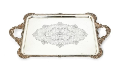A silver large rounded rectangular twin handled tray by James Dixon & Sons