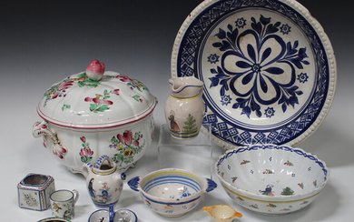 A small group of European faience pottery, late 19th and 20th century, including Quimper and Gien (s