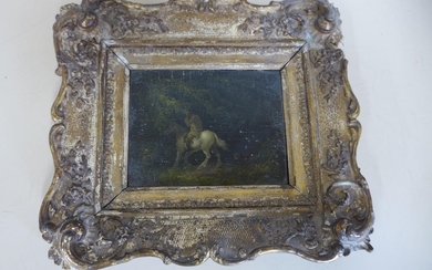 A small oil on wooden panel of a horseman sheltering beneath...