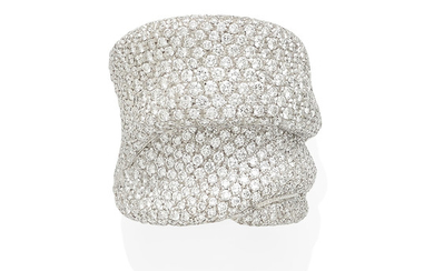 A white gold and diamond band