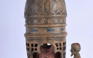 AFTER BERGMANN BRONZE EROTIC TOWER, formed as two arabs