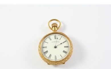 AN 18CT GOLD AND ENAMEL OPEN FACED POCKET WATCH BY WALTHAM t...