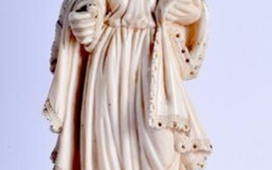 AN 18TH CENTURY CONTINENTAL GOA BONE FIGURE OF A FEMALE