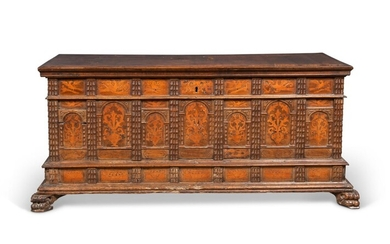 AN ITALIAN WALNUT AND FRUITWOOD INTARSIA CASSONE, 16TH CENTURY AND LATER