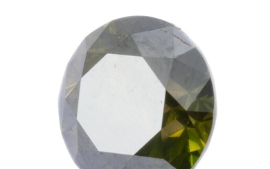 AN UNSET 2.13CT GREEN DIAMOND; round brilliant cut diamond 7.97 x 5.26mm with IGI report stating treated colour fancy deep yellowish...