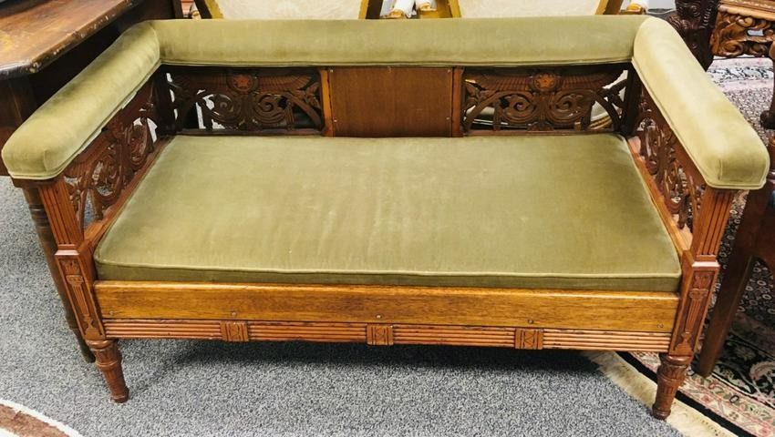 ANTIQUE FRENCH EMPIRE CARVED CHERRYWOOD BENCH