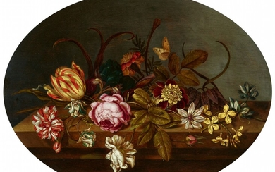 Ambrosius Bosschaert the Younger - Still Life with Roses, Tulips, Iris and a Caterpillar on a Table