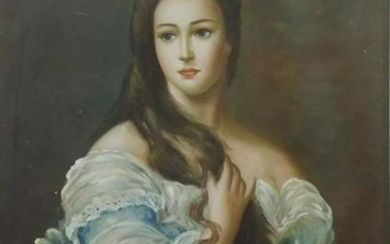 American School oil on canvas of Noble woman