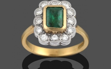 An 18 Carat Gold Emerald and Diamond Cluster Ring, an...