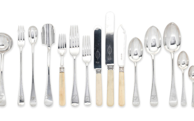 An Old English pattern silver flatware service